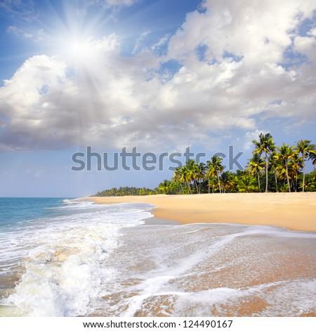 beautiful beach landscape - ocean in India