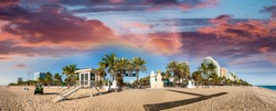 Beautiful beach of Fort Lauderdale. Panoramic coastline view near Beach Boulevard.