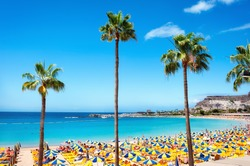 Beautiful beach of Playa de Amadores near Puerto Rico town, Gran Canaria, Canary Islands. Spain