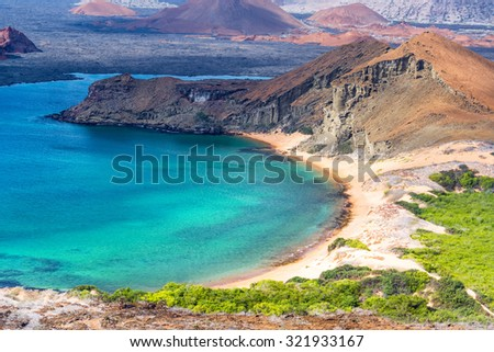 Beautiful beach on Bartolome Island in the Galapagos Islands in Ecuador