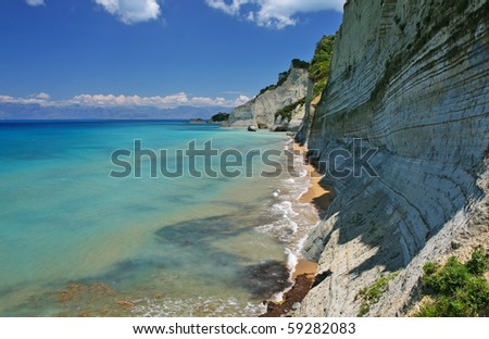 beautiful beach on corfu island, greece