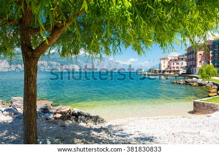 beautiful beach on Garda Lake, Italy