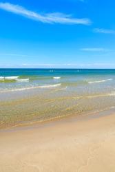 Beautiful beach on sunny day in Leba, Baltic Sea, Poland