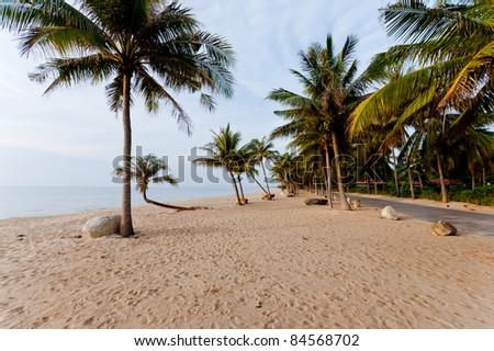 Beautiful beach road in Ban krut beach, Thailand - stock photo