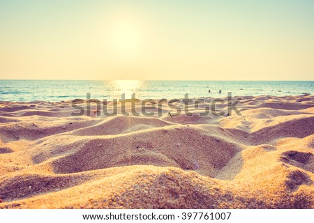 Beautiful beach sand and sea at sunset times with copy space for background - Vintage Filter and Boost up color Processing #397761007