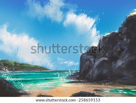 beautiful beach summer natural outdoor,digital painting