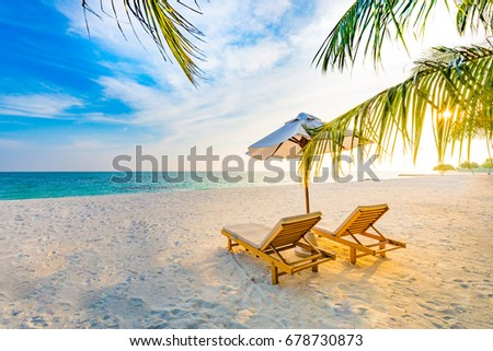 Beautiful beach. Sunny beach landscape. Summer travel concept and holiday vacation design.  #678730873