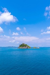 beautiful beach view Koh Chang island seascape at Trad province Eastern of Thailand on blue sky background , Sea island of Thailand landscape