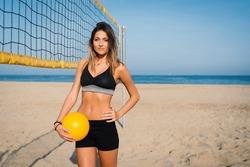 Beautiful beach volleyball female player portrait.