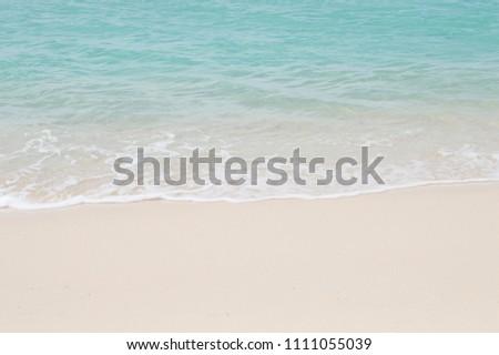beautiful beach white sand and blue water #1111055039