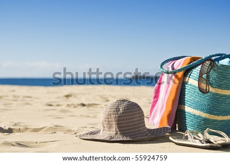 Beautiful beach, white sand, sunshine. Great for travel backgounds.