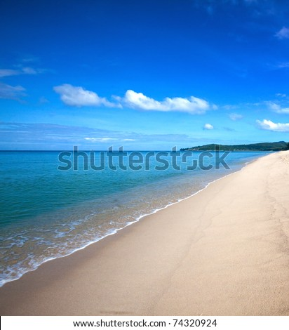 Beautiful beach with crystal clear blue waters of the Andaman sea
