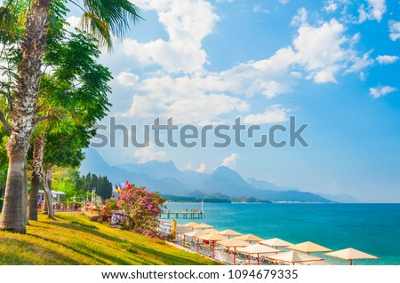 Beautiful beach with green trees in Kemer, Turkey. Summer landscape, travel and vacation Stok fotoğraf ©