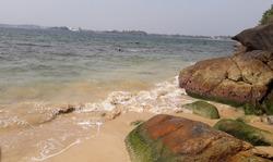Beautiful beach with rock. Summer vacation background concept. Sri Lanka jungle beach.