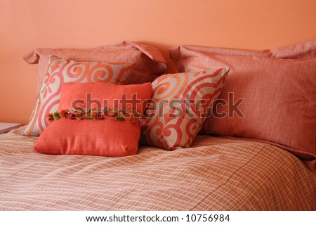 Beautiful Bedroom In Citrus Colors Stock Photo 10756984