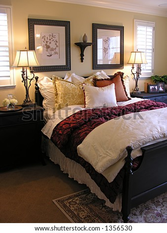 Beautiful bedroom interior - stock photo