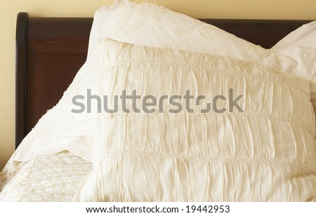 stock photo : Beautiful bedroom interior with ivory col