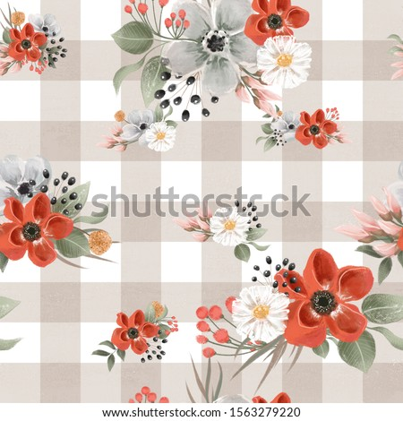 Beautiful beige and white check, gingham floral seamless, tileable, watercolor pattern
