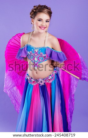 4fd01a3666e69 Beautiful teen girl belly-dancer isolated on white Images and Stock ...