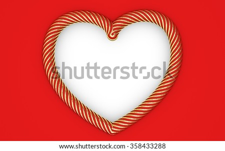 Beautiful big striped gold heart frame with red background. Render ...