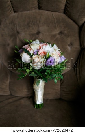 Beautiful big stylish wedding bouquet with white roses and pink and beautiful big stylish wedding bouquet with white roses and pink and purple flowers on green velvet mightylinksfo