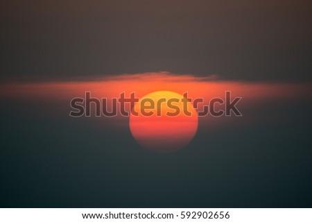 beautiful big sun in sunset.