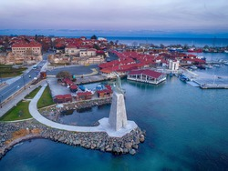 Beautiful bird's-eye view of the old town of Nessebar, the Black Sea, Sunny Beach resort and mountains, Bulgaria.. High-altitude panoramic drone shot