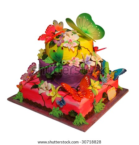 Beautiful Birthday Cakes on Stock Photo   Beautiful Birthday Cake With A Butterflies Isolated On