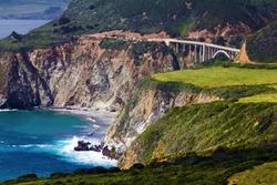 Beautiful Bixby Bridge Landscape On A Highway 1 In Big Sur, California