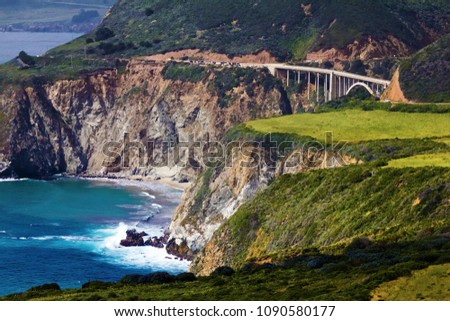 Beautiful Bixby Bridge Landscape On A Highway 1 In Big Sur, California