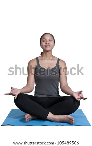 Beautiful black African American woman doing her Yoga exercises