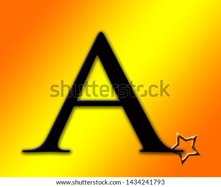 Beautiful black and blue shiny alphabet a with shiny background