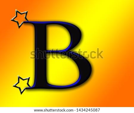 Beautiful black and blue shiny alphabet b with shiny background