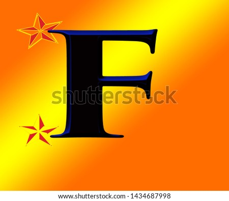 Beautiful black and blue shiny alphabet f with shiny background