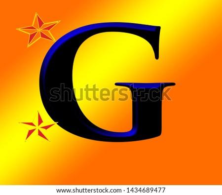 Beautiful black and blue shiny alphabet g with shiny background