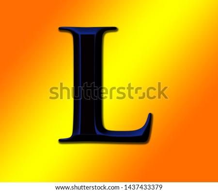 Beautiful black and blue shiny alphabet L with shiny background
