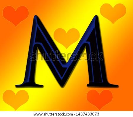 Beautiful black and blue shiny alphabet m with shiny background