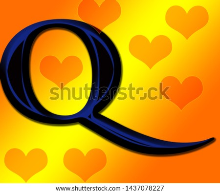 Beautiful  black and blue shiny alphabet q with shiny background