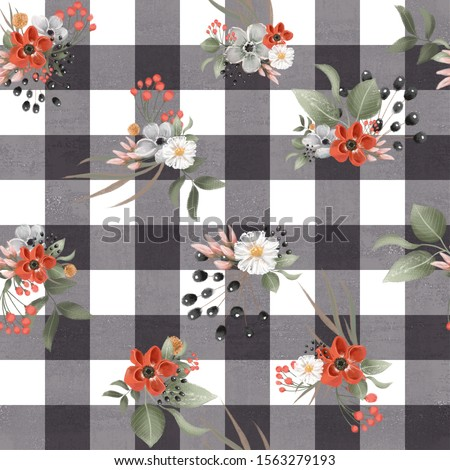Beautiful black and white check, gingham floral seamless, tileable, watercolor pattern