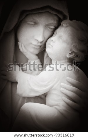 Beautiful black and white image of tlhe virgin Mary and the baby Jesus