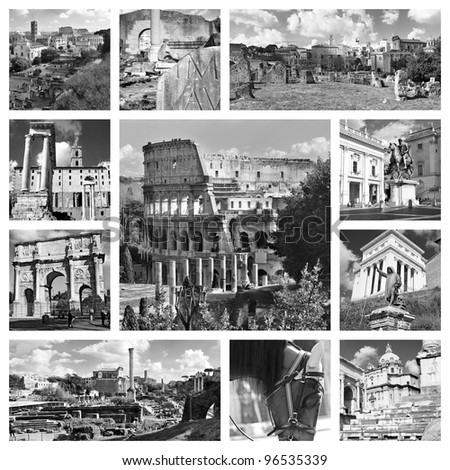 Beautiful black and white photos photos of the Colosseum  in Rome and other famous places. Collage