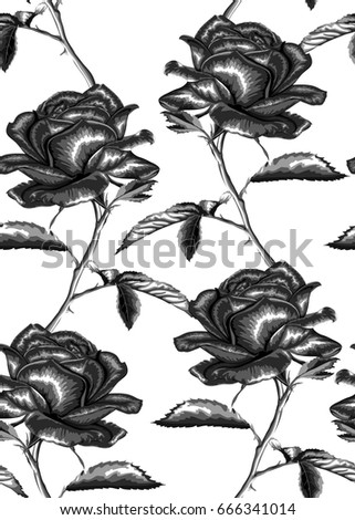 Beautiful black and white seamless background. roses, stem, leaves. design greeting card and invitation of the wedding, birthday, Valentine's Day, mother's day and other seasonal holiday