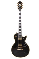 Beautiful black electric guitar isolated over white