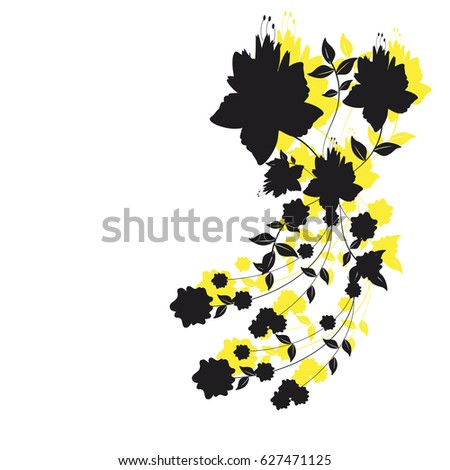beautiful black flowers, isolated on a white