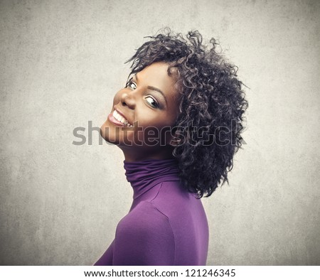 Beautiful black girl in purple