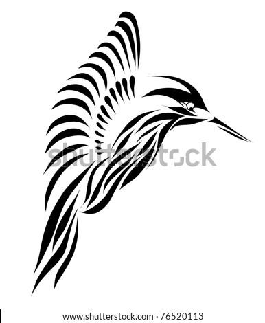 Beautiful black hummingbird isolated on white background (raster version) As sign, symbol. web, tattoo, emblem, logo, label, icon.
