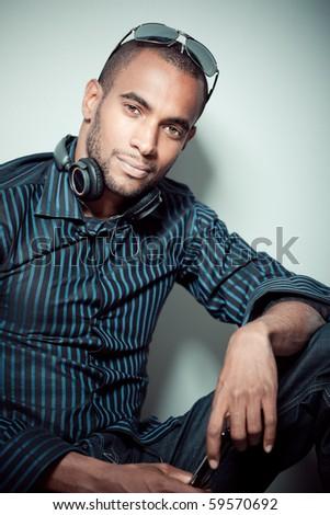 Beautiful black man posing