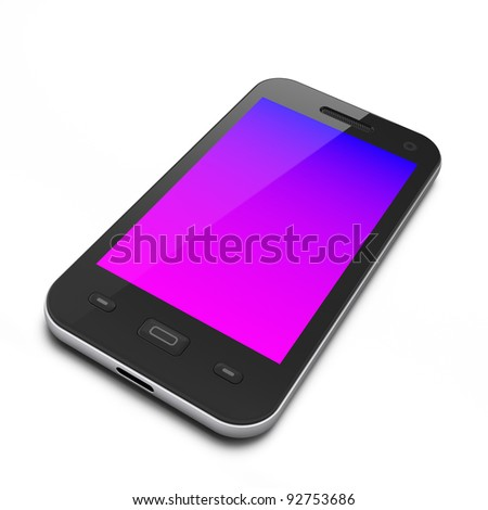Beautiful black smartphone, 3d render. Smart phone isolated on white