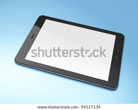 Beautiful black tablet computer (tablet pc) on blue background, 3d render.