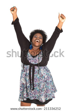 Beautiful black woman doing different expressions in different sets of clothes: arms raised